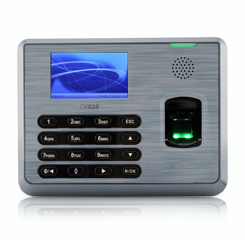 New ZKSoftware Color LCD Biometric Fingerprint Time Attendance Machine TCP/iP RS232/485 TX628 zk tx628 3 inch color screen new tx628 id 125khz tcp ip rs232 485 biometric fingerprint time attendance recorder time clock sdk
