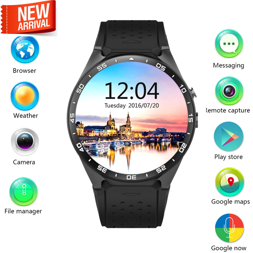 KW88 3G SIM Wifi GPS Smart Watch Android 5.1 MTK6580 Quad-Core CPU Round Screen Camera Wear Wrist Band Watches iOS PK LEM5 X5 for smart watch lem5 finow x5 x5 plus x5 air q3 charging dock charger