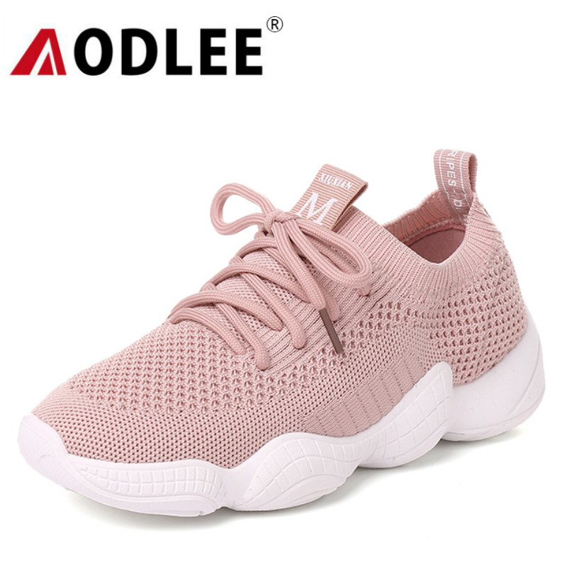 AODLEE Luxury Brand Air Mesh Shoes Women Sneakers Breathable Lace up Flats Vulcanize Shoes Woman tenis feminino Chaussure Femme sneakers