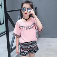 8 10 12 14 Year Baby Girls Clothes Set Spring O Neck Long Sleeve Tassel T