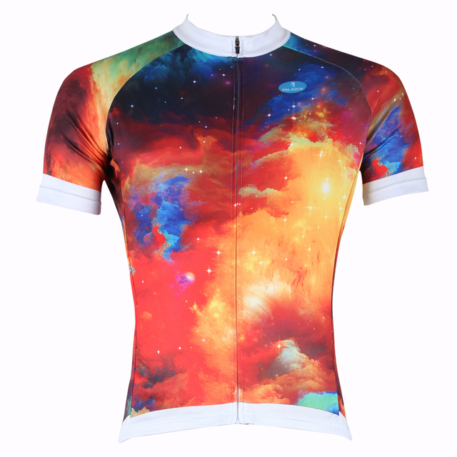 db4722751 Free shipping Men Dream Nebula Short Sleeve Cycling Jersey Colorful Bike   Bicycle  Apparel Breathable Polyester