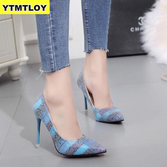Plus Size 34-42 2019 Spell Color Women Pump  High Heels Single Shoes Female Summer Patent Leather Wedding Party Woman Gladiator