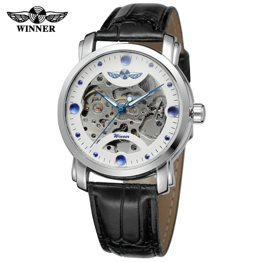 Watch Famous Brand T-winner Skeleton Automatic Mechanical Watch Men Gift Watches Genuine Leather Strap Black White Dial Fashion full hunter smooth cooper pocket watch skeleton roman numbers dial mechanical automatic fob hour antique gift for men women