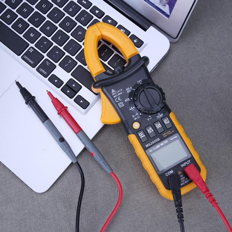 MS2008B Digital Multimeter Amper Clamp Meter Current Clamp Pincers AC Current AC/DC Voltage Capacitor Resistance Tester victor vc6056d clamp meter multimeter ac dc current voltage resistance tester 600a 32mm jaw