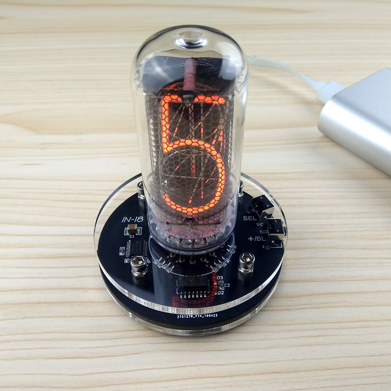 DYKB 1-bit Integrated Glow Tube Clock FOR IN-18 Clock Glow Tube Nixie Clock Built In Boost Module