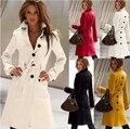 2016 nuevas mujeres del invierno abrigo de paño de lana de manga larga color puro tenedor abierto las mujeres alta calidad de capa de la ropa G1514