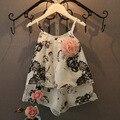 Дети 2016 девушки летние Льняные ткани Китайской Кистью Картина стиль Соболезнуем пояса рубашка Бретели + шорты Комплект с Корсаж