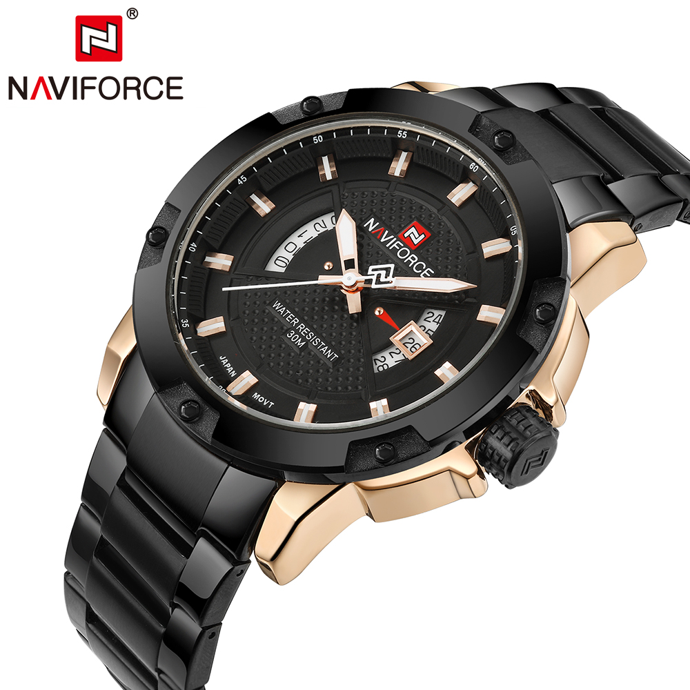Original NAVIFORCE Luxury Brand Steel Military Spors
