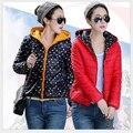 Nuevas mujeres del invierno abajo chaqueta con capucha de manga larga desgaste de ambos lados párrafo breve por la chaqueta Super caliente capa delgada G1739