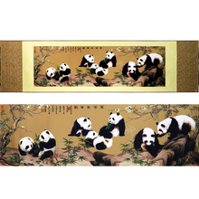 Chinese Wall Art  Creative Style Crafts  Silk Paintings Panda Scroll Hanging Paintings Send friends birthday business home decor
