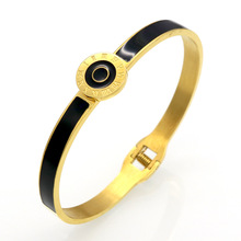Fashion Brand Design Circle Roman Numerals Cuff Bracelets & Bangles Black Resin Charming Womens Love Bracelets