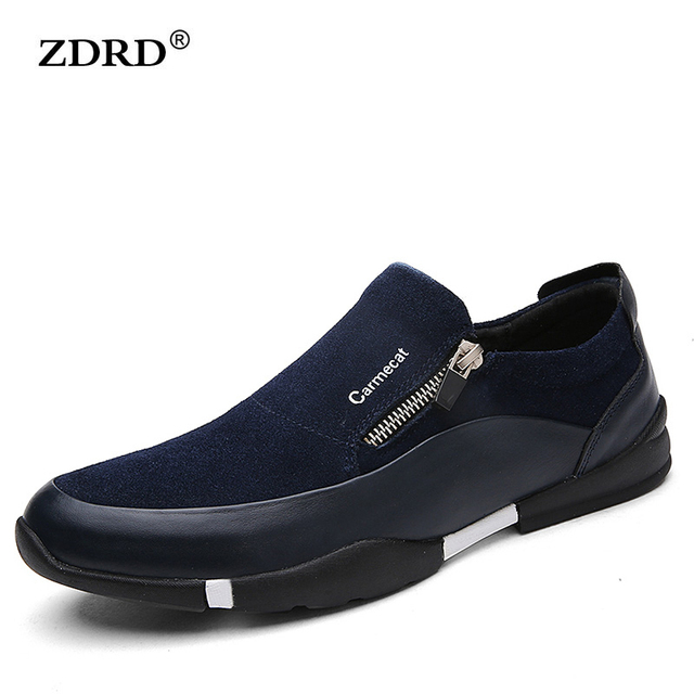 2016 New Brand British Style Men Flats Shoes Top Quality Genuine Leather Men Flat Loafers Slip-on Soft Men Business Shoes