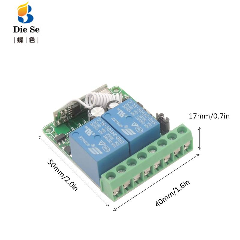 DC12V 10A 2CH Remote Control Switch Wireless Receiver Relay Module for rf 433MHz Remote Garage Lighting Electric Door switch in Remote Controls from Consumer Electronics