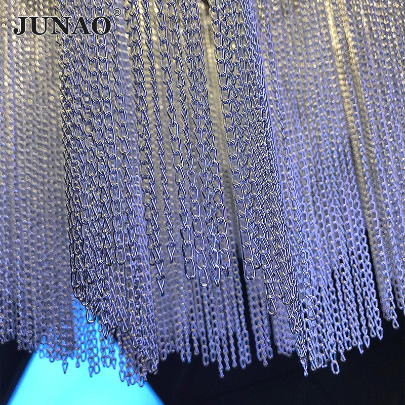 JUNAO 3mm 6mm Silver Gold Color Rhinestone Fringe Chain Sewing Metal Trim Tape Strass Ribbon For DIY Clothes Home Decoration