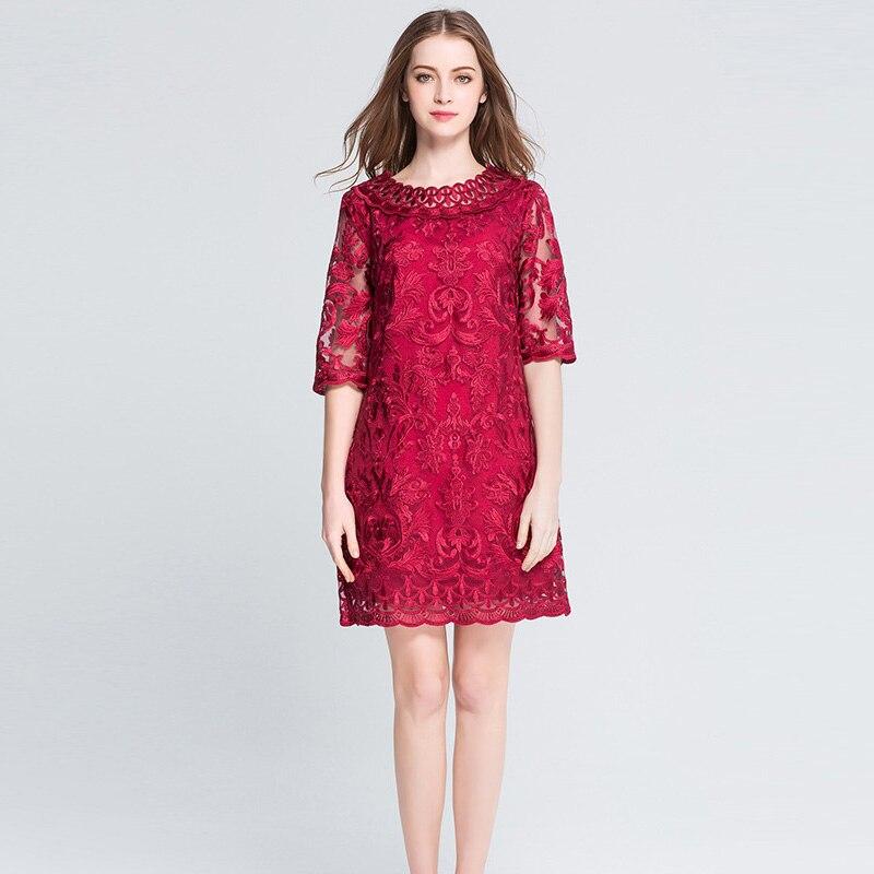 Frauen rote Spitze Stickerei Plus Size Kleider Herbst elegante große - Damenbekleidung - Foto 5