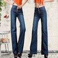 2016 la primavera y el otoño de La Manera ocasional más el tamaño de algodón mujer mujeres niñas de cintura alta sueltos pantalones anchos de la pierna pantalones vaqueros ropa