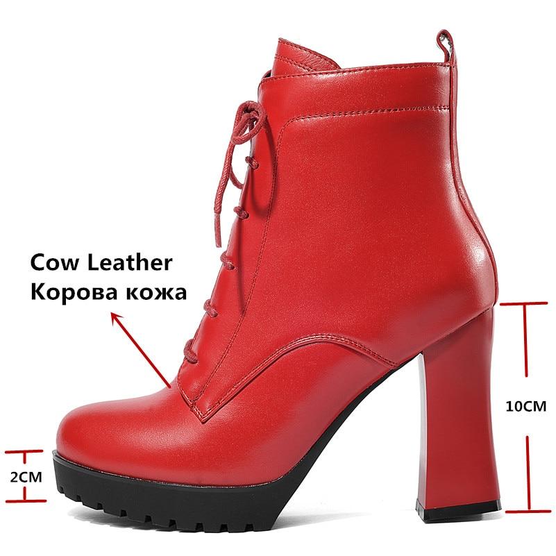 FEDONAS 1 moda kobiety botki prawdziwej skóry jesień zima ciepłe wysokie obcasy buty krzyż wiązanej platformy wysokiej jakości buty kobieta w Buty do kostki od Buty na  Grupa 3
