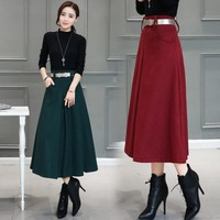 Long winter and winter high rise pendulum thick thick new skirt in the long paragraph skirt winter women