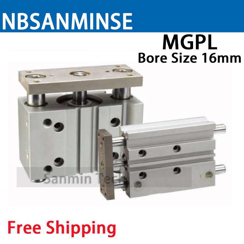 MGPL Bore Size 16 Compressed Air Cylinder SMC Type ISO Compact Cylinder Miniature Guide Rod Double Acting Pneumatic Sanmin high quality double acting pneumatic gripper mhy2 25d smc type 180 degree angular style air cylinder aluminium clamps