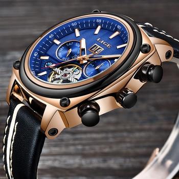 LIGE Brand Men Watches Automatic Mechanical Watch Tourbillon Sport Clock Leather Casual Fashion Retro Wristwatch Relojes Hombre