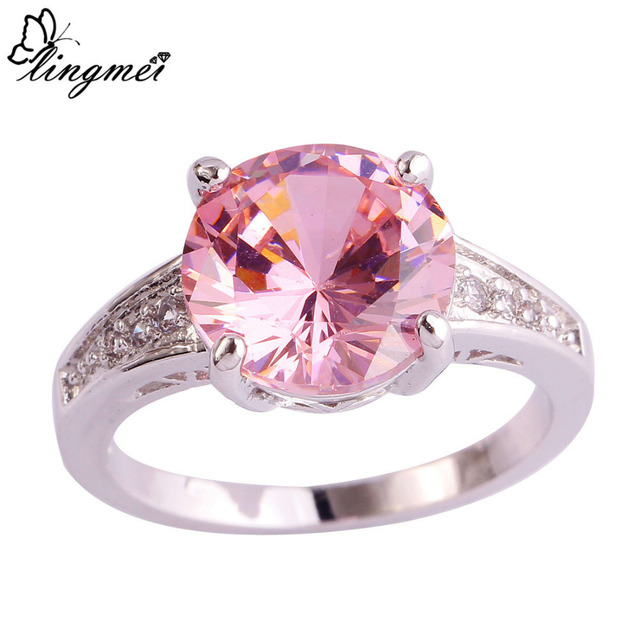 lingmei Hot Sell Round Cut Pink & White Cubic Zirconia Silver Color Ring Full Si