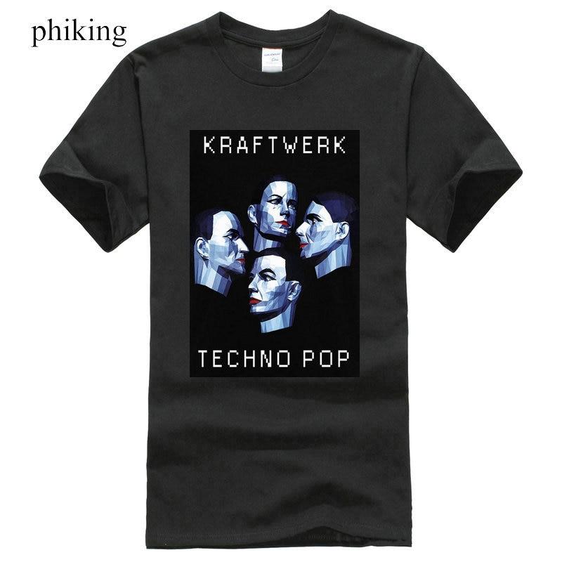 T Shirt Homme 2018 New Kraftwerk Techno Pop Black T-Shirt Electronic Band Short Sleeve Men Fashion 2018 Crew Neck Tee Shirts