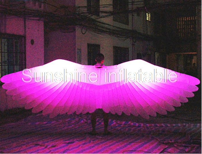 4mLong party decorative color-changing inflatable stage decoration giant angel wings with led light