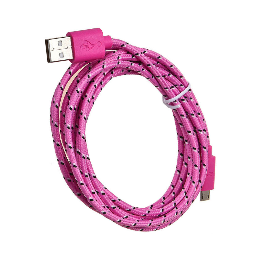 Universal 3M/10FT Micro USB Nylon net Weave Data cable For Samsung Galaxy S6 pink