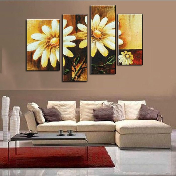 Sunflower oil painting canvas Retro Flower Artwork handmade Home Office Hotel wall art decor decoration free & Sunflower oil painting canvas Retro Flower Artwork handmade Home ...