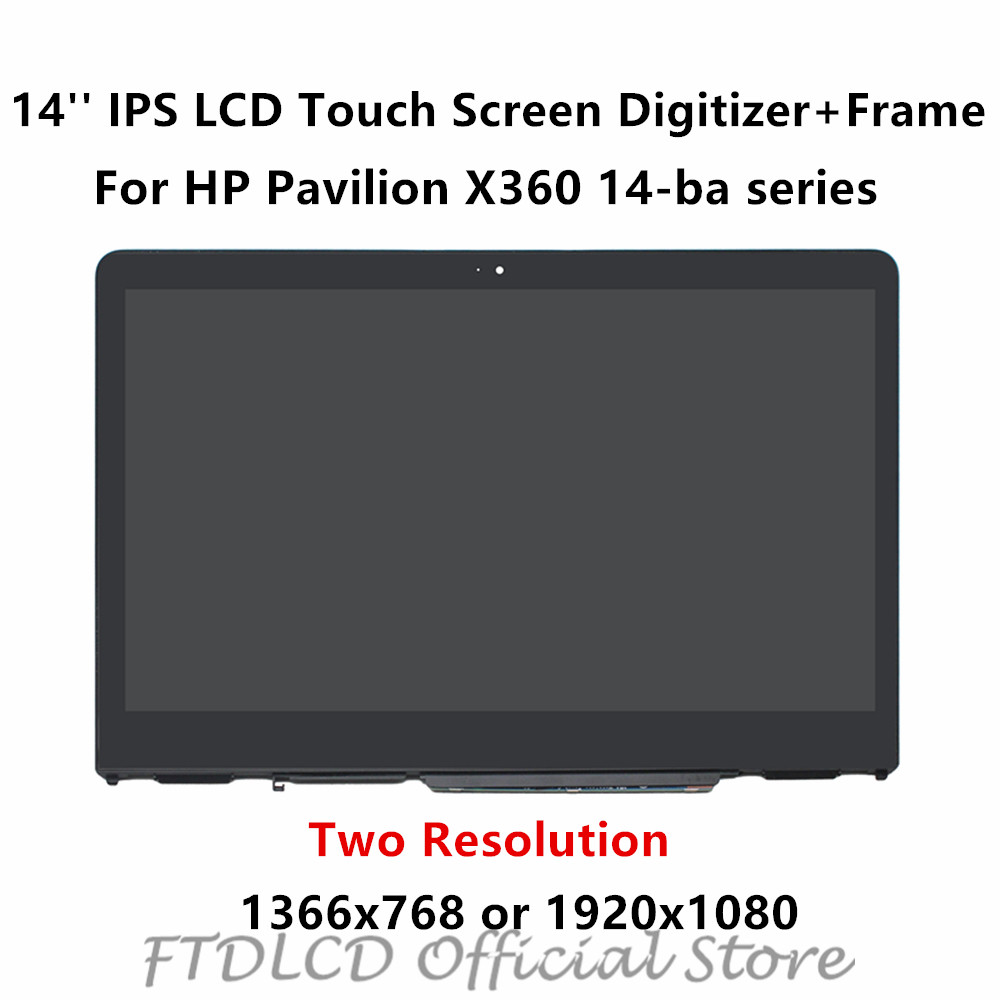 FTDLCD 14'' IPS LCD Touch Screen Digitizer Assembly+Frame B140XTN02.E N140HCE-EBA For HP Pavilion X360 14-ba 14-ba100na Ba013ca