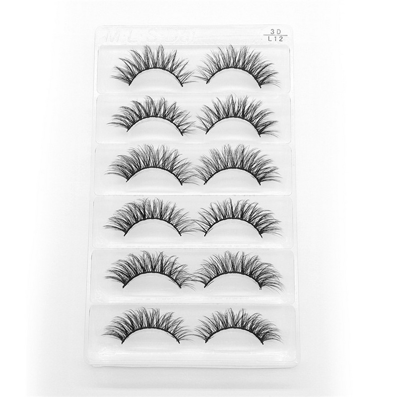 6 Pairs False Eyelashes Natural 3D Mink Lashes Short Black Hair Lashes Wispy Eyelashes Long Professional Make Up Tool DOCOCER