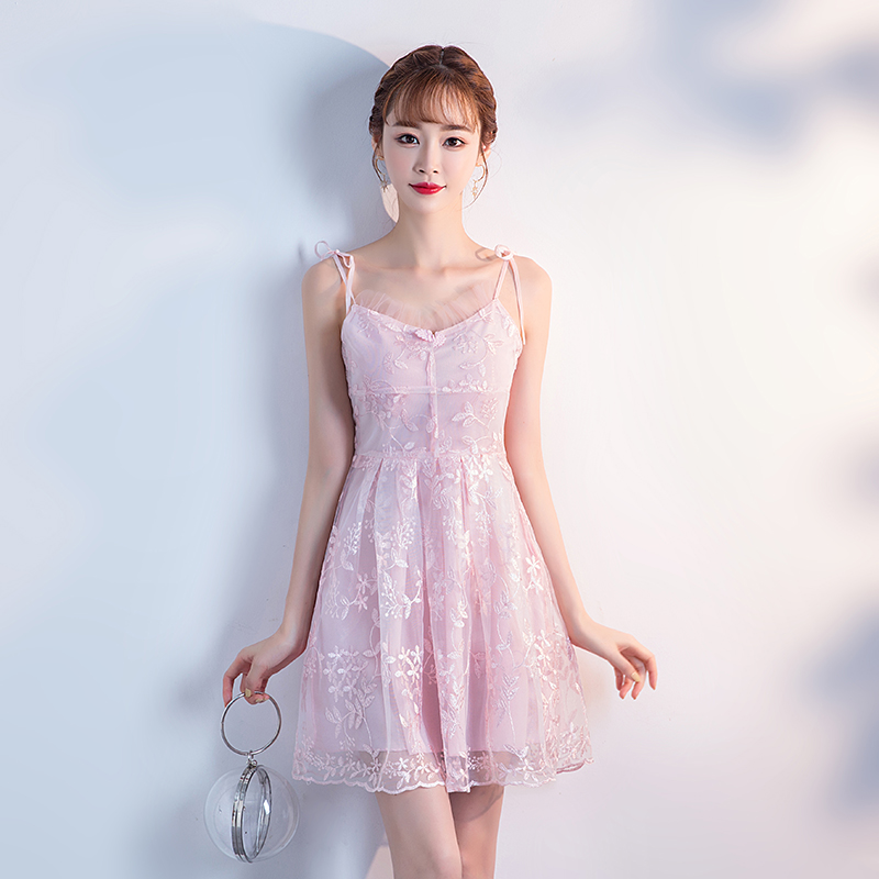 Wedding Guest Dress Party Elegant A-Line Pink Mini Sexy Lace Bridesmaid Sleeveless Tulle Ladies Short Prom Junior Dress Vestidos