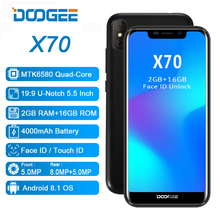 Doogee X70 Android 8.1 Cep Telefonu Yüz Kilidini Parmak Izi KIMLIK Cep 4000 mAh 3G WCDMA 2 GB 16 GB 5.5 inç 19:9 8.0MP Smartphon...