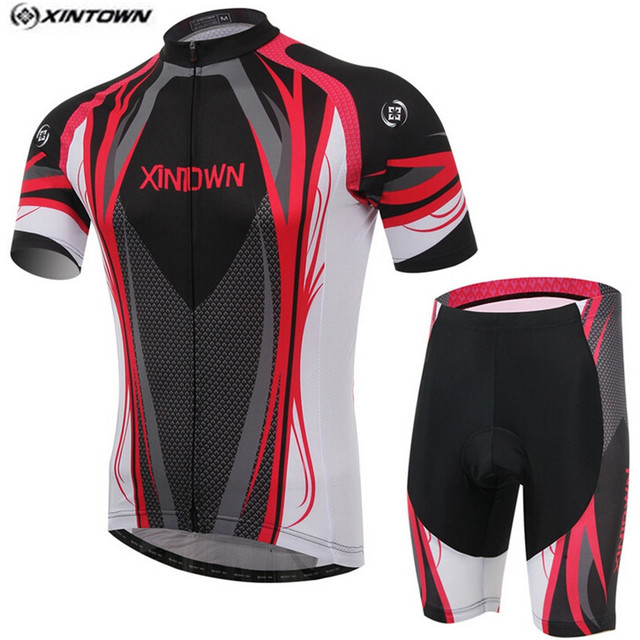 Bike Jersey bib shorts Set Men Cycling Clothing Suit Racing Shirt Ropa  Ciclismo Short Sleeve mtb Bicycle Top Bottom Red Black 5028129cb