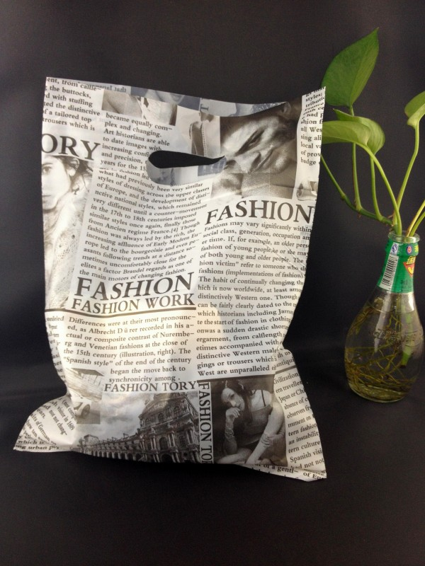 25 35cm Black Newspaper Design Large Plastic Shopping Bags