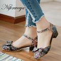 Fashion Summer women low heel shoes big size 28-52 Round Toe Buckle Strap Cover Heel Butterfly-knot sandals zapatos mujer 560