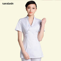 DIY Logo Uniforms New Female Teahouse Waitress Clothes Health Club Work Clothing Beauty Salon SPA Uniform 2piece Set Embroider