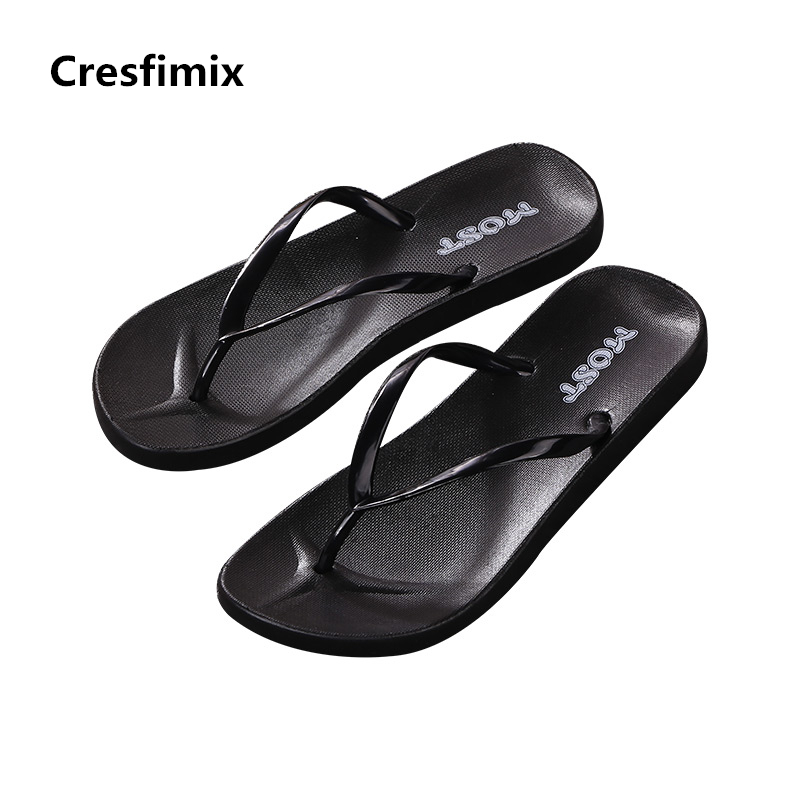 Cresfimix women fashion black soft & comfortable flip flops lady cute high quality beach flip flops female cute flip flops cresfimix women fashion