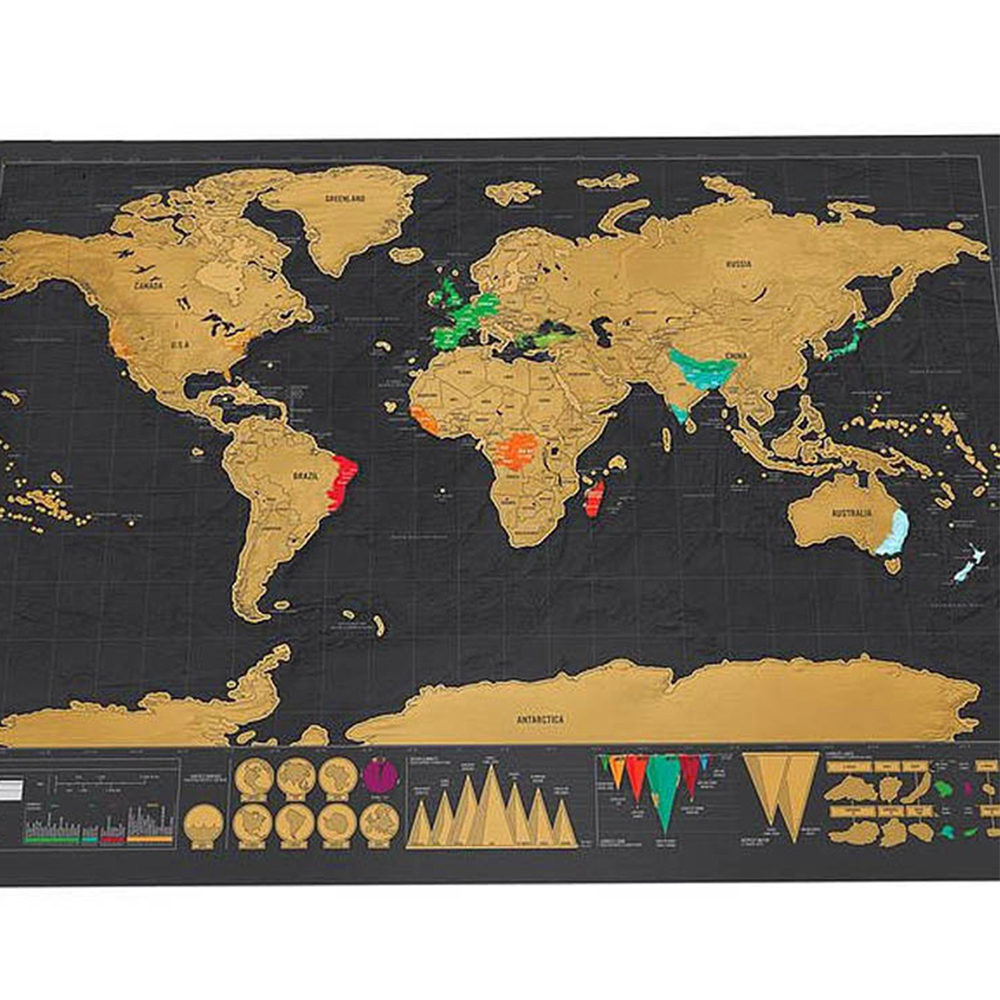 deluxe erase black world map scratch off map and personalized journal log