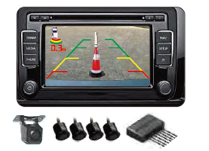parking car reverse radar 4 video rearview camera sensor system work for BMW Original image /photo on monitor /DVD