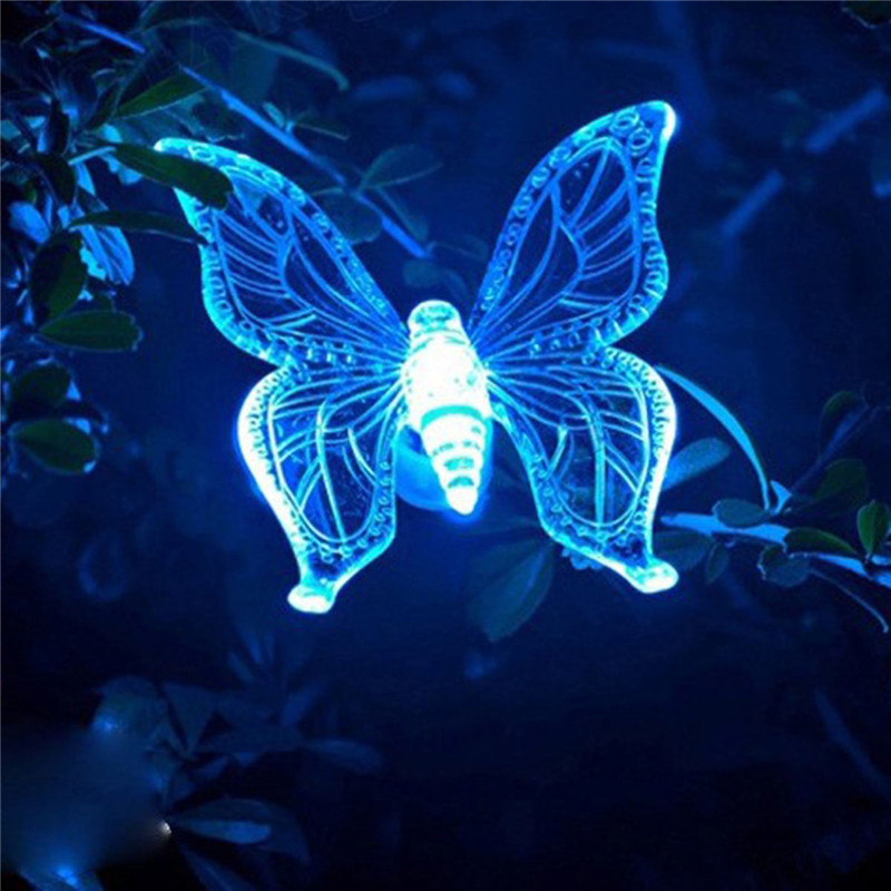 Rgb White Garden Solar Light Dragonfly/Butterfly/Bird Lawn Lamp Solar Garden Light Waterproof Outdoor Color Change Path Lamp