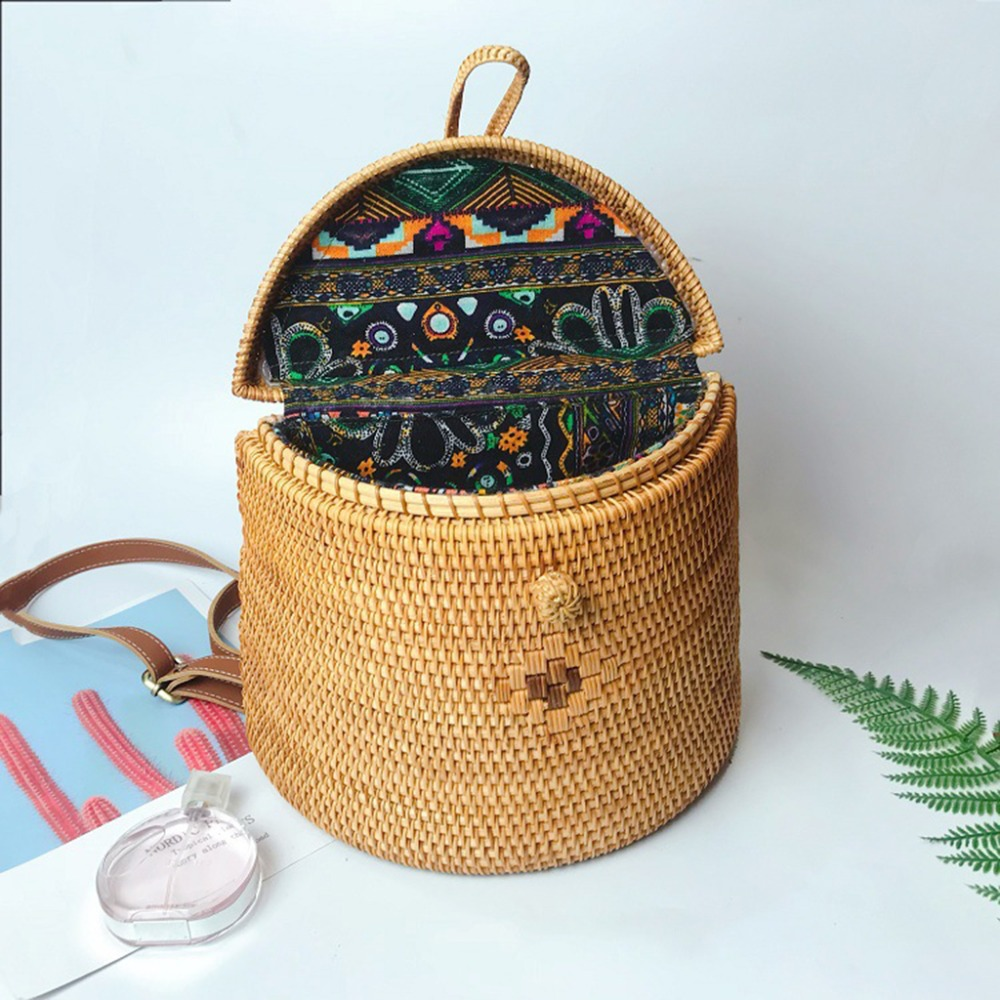 Summer Vietnam Hand woven Rattan Bag Backpack Bohemian Beach Bag