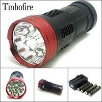 Tinhofire 16000 lumens Ánh Sáng Vua 10T6 LED 10 x CREE XM-L T6 LED Flashlight Torch Lamp Ánh Sáng với 4x4000 mah battery charger