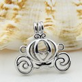 Wholesale Low Price Silver Plated carriage Locket Necklace Pendant 5pcs