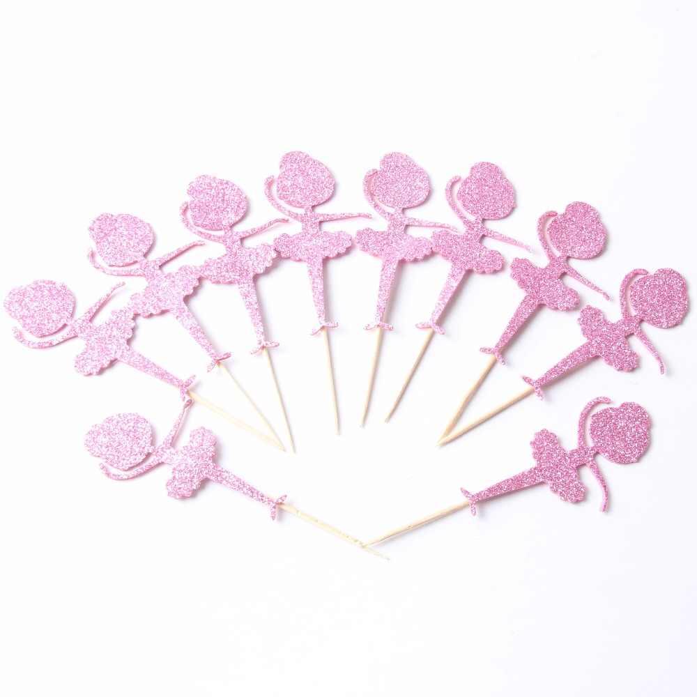 10 pçs/lote Brilho Bailarina de Coco Do Queque Do Aniversário Do Queque chapéus de Coco do Queque Do Chuveiro de Bebê menina chapéus de Coco Picaretas Alimentos festa de Dança