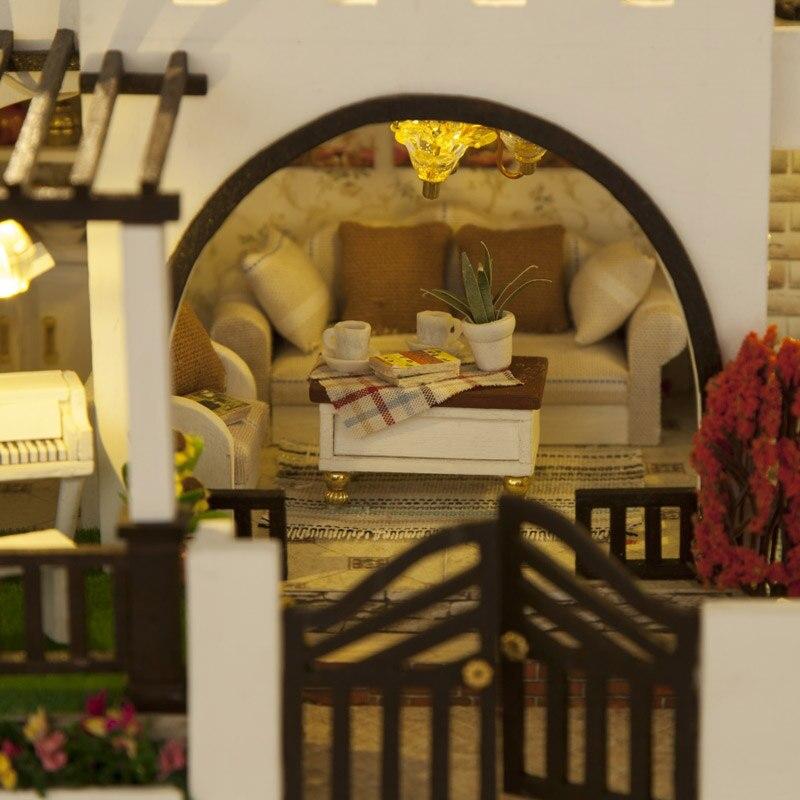 Bricolage maison de poupée meubles en bois mon rêve château filles jouet à la main maison de poupée en bois décoration bricolage jouets pour enfants fille cadeau - 5