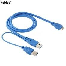 Cable USB 3,0 A micro b Dual para carcasa de HDD conector de Cable de ordenador para Samsung Galaxy Note 3 III N9000 longitud 50cm