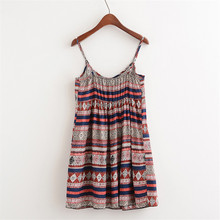 2018 Summer New Ethnic Style Dress Women Loose Button Decoration Stripe Women Dresses Strapless Sexy Floral