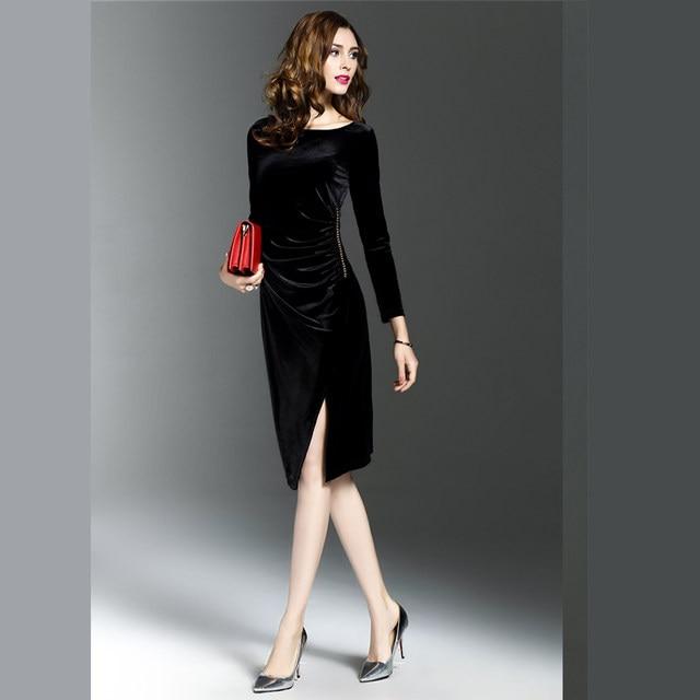 Online Shop Women Green Velvet Dresses Plus Size Elegant Autumn ...