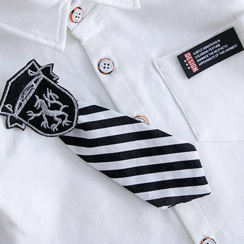 Festa de casamento fahshion meninos primavera conjuntos de roupas 2 pçs manga longa gravata t-camisa + calças de alta qualidade crianças bebes outfits traje